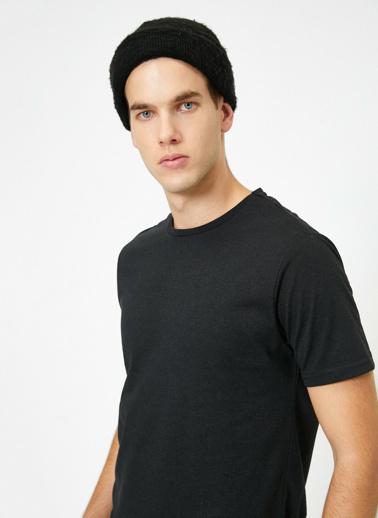 Koton Kisa Kollu Yuvarlak Yaka %100 Pamuk T-Shirt Siyah